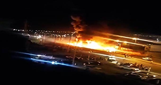 فیلم / نمای بالا از حجم آتش سوزی حادثه تصادف در سنندج