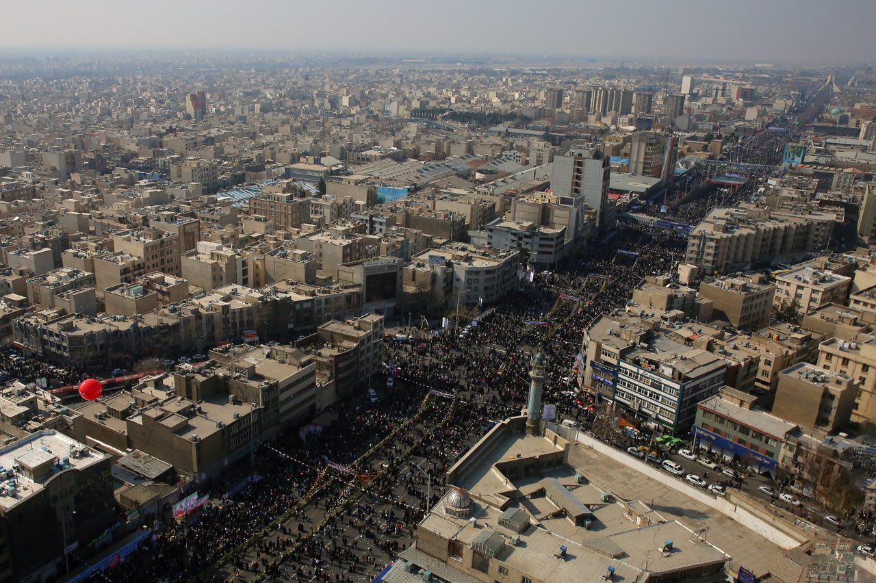 تصویر نمای هوایی از راهپیمایی 22 بهمن