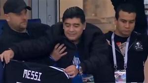 فیلم / حمایت مارادونا از مسی پیش از بازی کرواسی