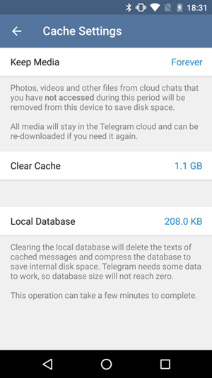 نحوه پاک کردن حافظه کش تلگرام