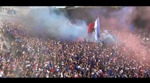 فیلم / شادی مردم فرانسه در پاریس پس از گل دوم