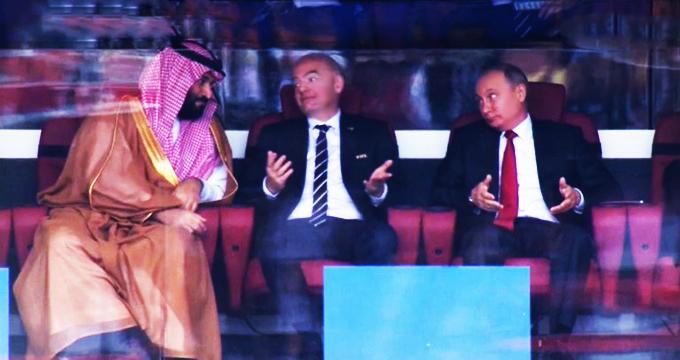 فیلم / واکنش پوتین به ولیعهد عربستان پس از گل اول روسیه