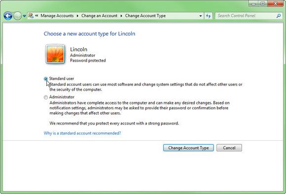 تنظیمات حساب کاربری ویندوز