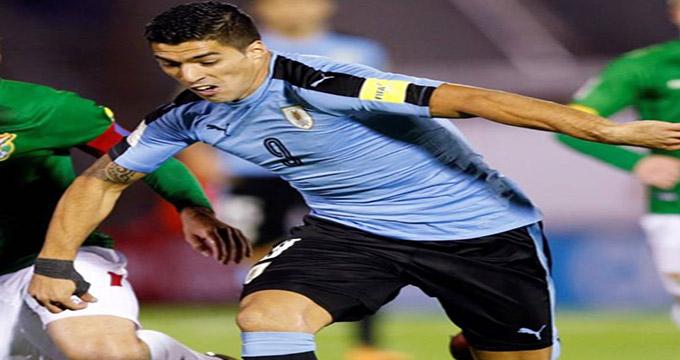 گل اول اروگوئه به عربستان (سوارز)