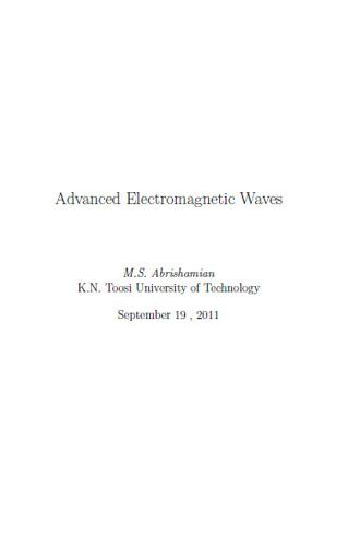 Advanced Electromagnetic Waves By Abrishamian