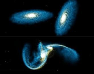 Image result for کهکشان ها و هم نوع خواری آن ها