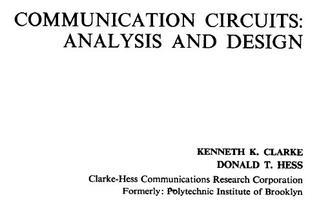 Communication Circuits-Clarke & Hess