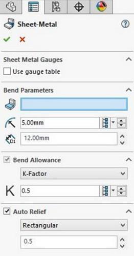 پارامترهای مربوط به قطعه ورقکاری در Solidworks