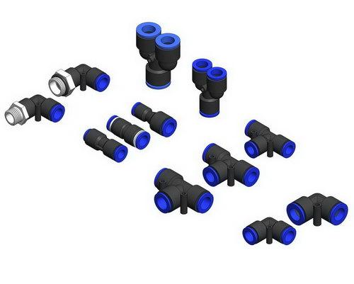 مدل سه بعدی اتصالات پنیوماتیک