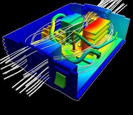 شبیه سازی جریان هوا و انتقال حرارت و توزیع دما در داخل برد الکتریکی