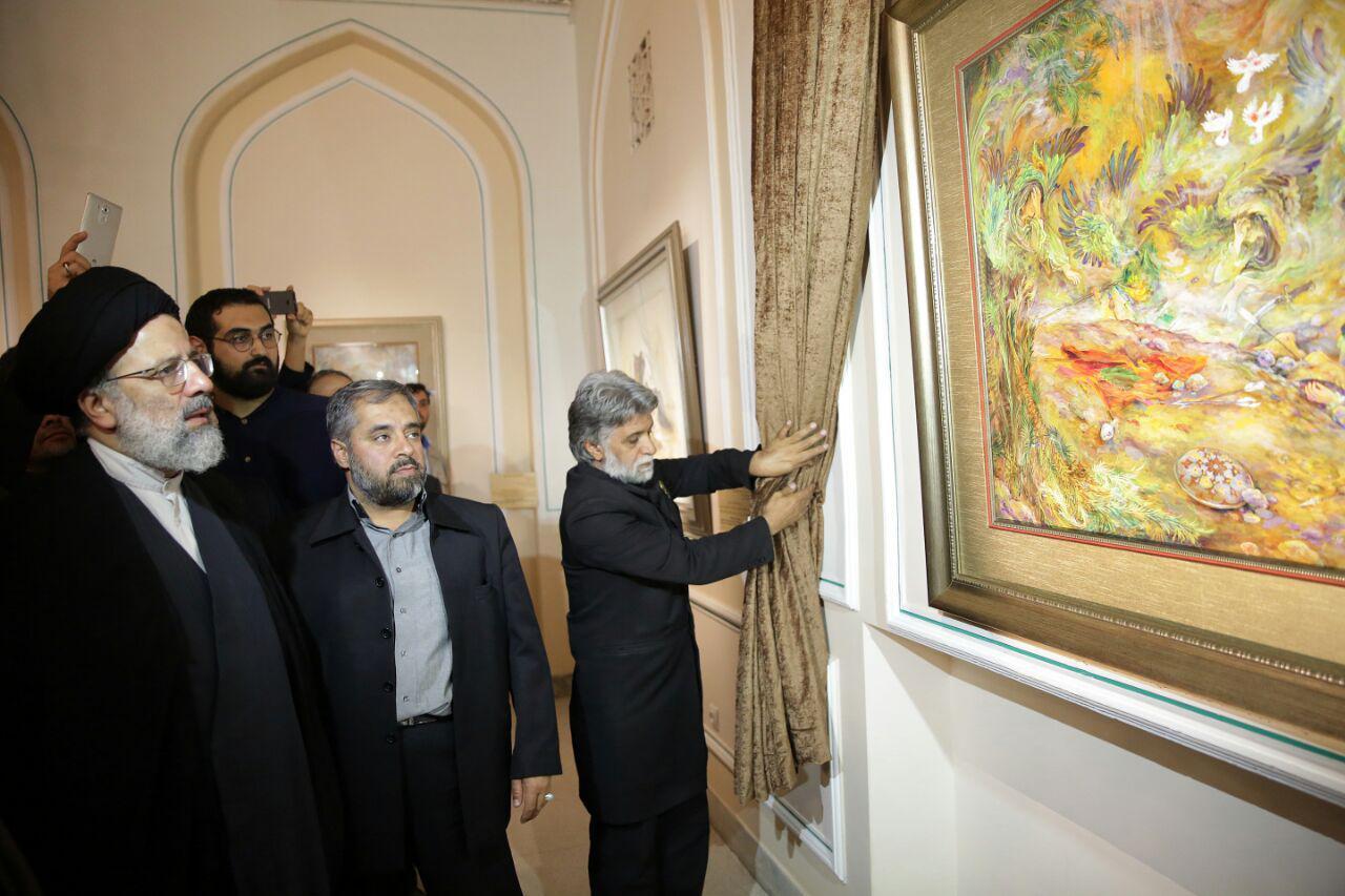 آئین رونمایی از قرآن نگارش شده بر سنگ و رونمایی از اثر «عرش بر زمین» با حضور حجت الاسلام رئیسی