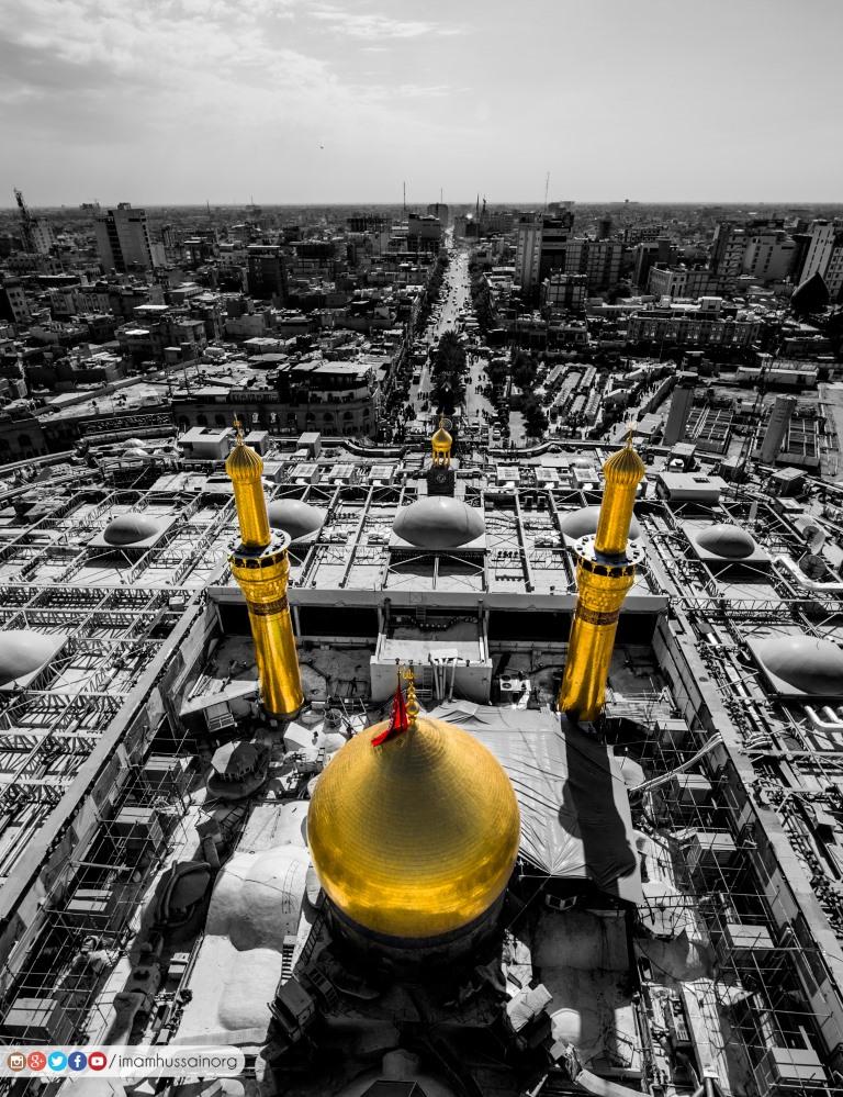 تصویر هوایی از حرم امام حسین علیه السلام