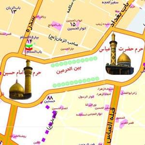 نقشه ی مرز و راه های عراق و شهرهای نجف و کربلا