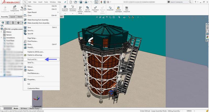 ذخیره کل قطعات مدل سه بعدی و قطعات استاندارد مانند پیچ و مهره و برینگ در سالیدورکز
