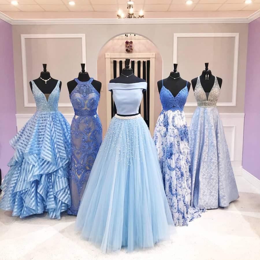 لباس ساقدوش عروس آبی کم رنگ 2019