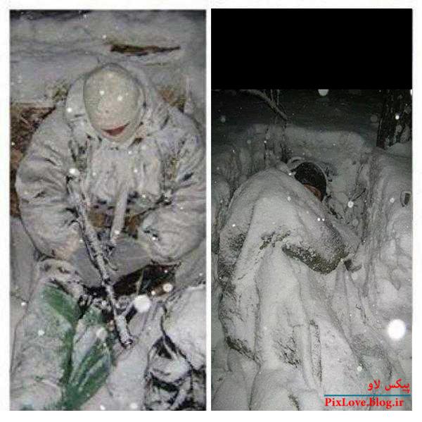عکسی از مدافعان حرم در برف و سرمای شدید