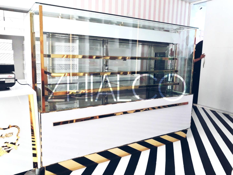یخچال مکعبی قنادی 2 متری - سفید طلایی