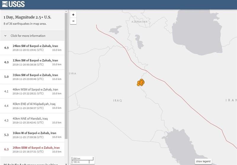 گزارش مرکز لرزهنگاری آمریکا از زلزله اخیر در کرمانشاه