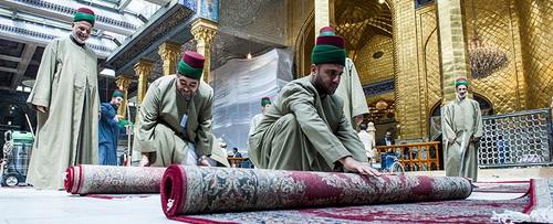 1000 تخته فرش ایرانی در حرم حضرت عباس (ع) + تصاویر