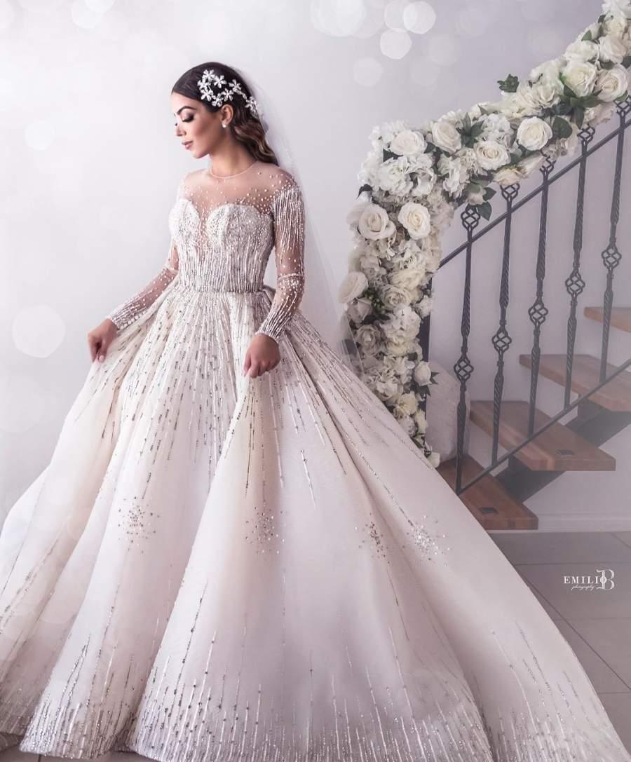زیبا ترین لباس عروس 2019 آستین گیپور