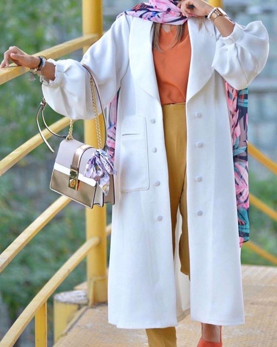 مانتو پاییزه دخترانه اسپرت سفید