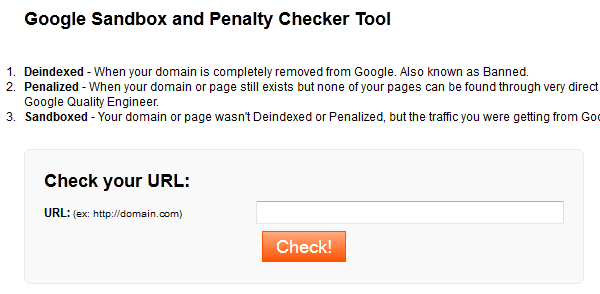 google sandbox penalty checker