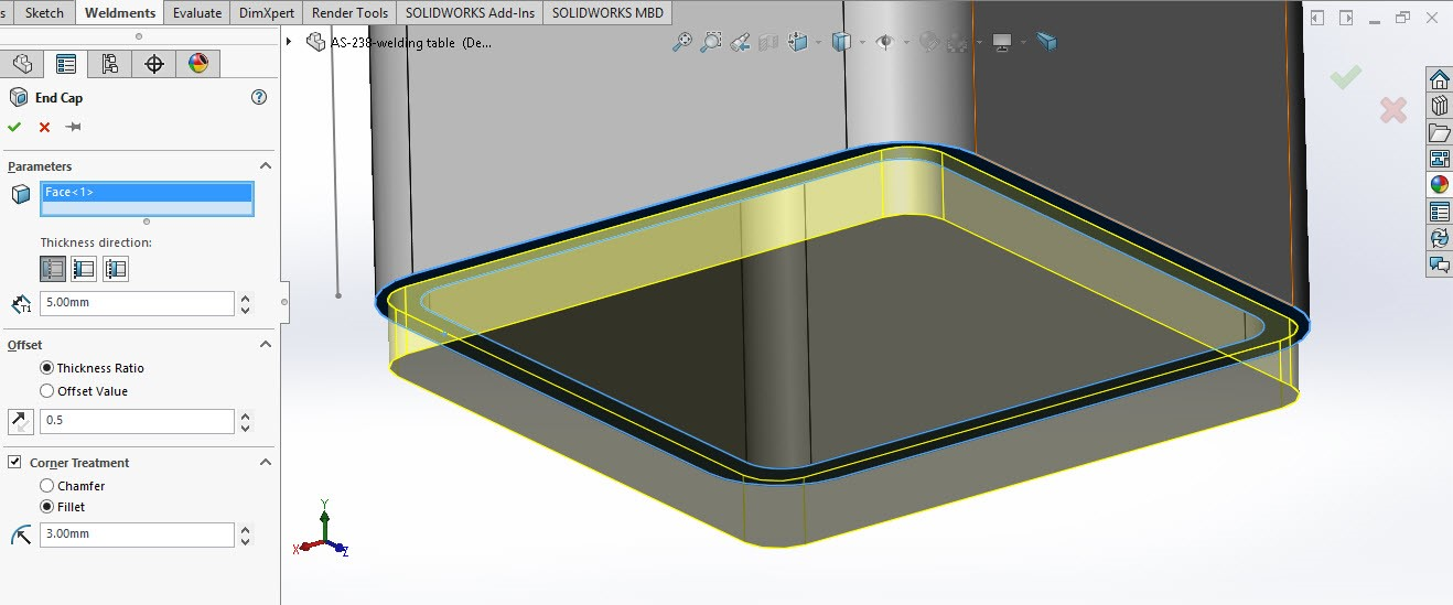 Solidworks weldment and structure 1