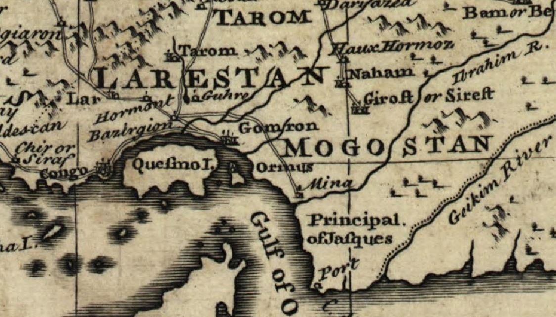 میناب در نقشه امپراطوری ایران زمان افشاریان
