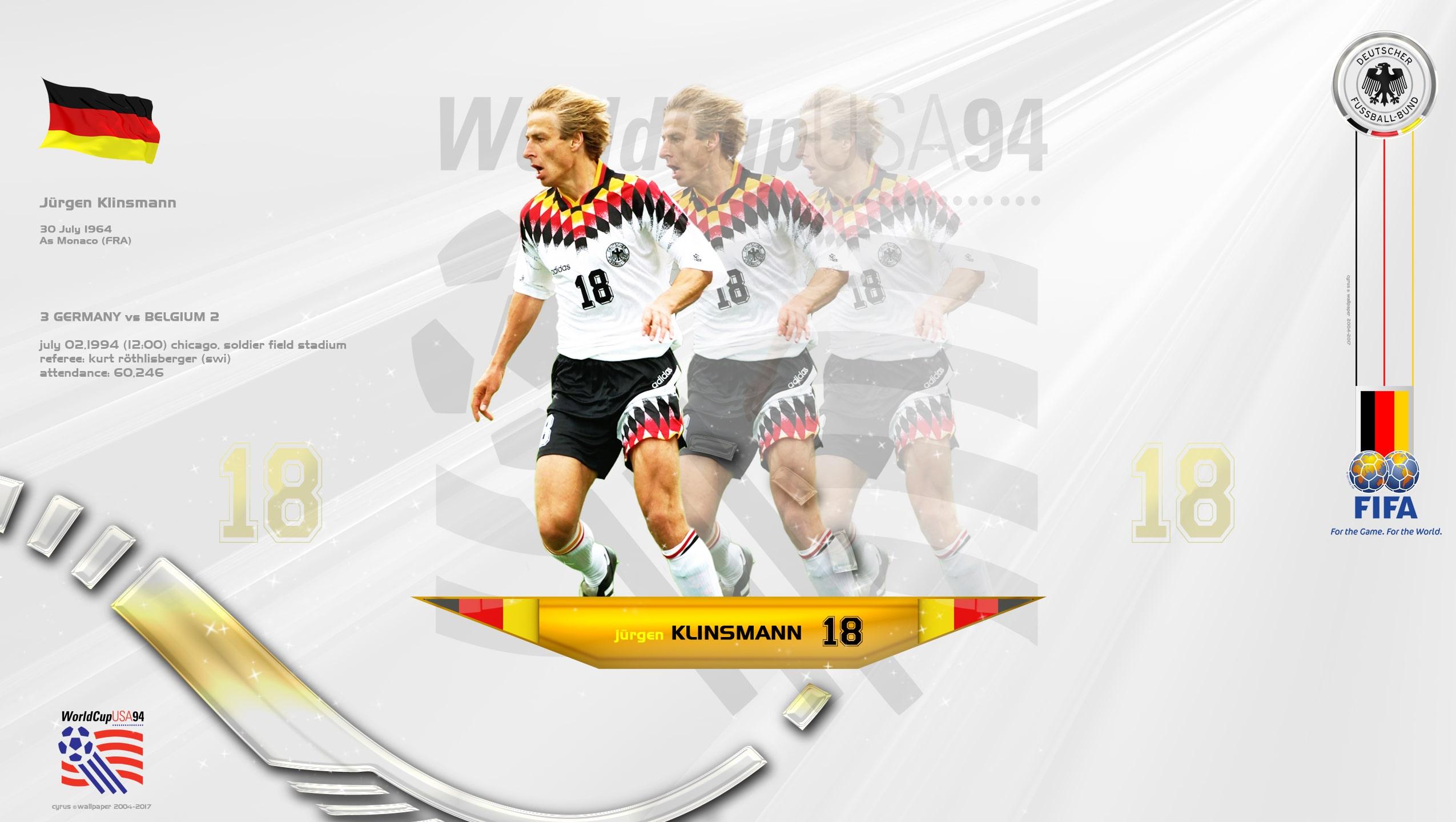 والپیپر یورگن کلینزمن مهاجم گلزن آلمان در جام جهانی 1994