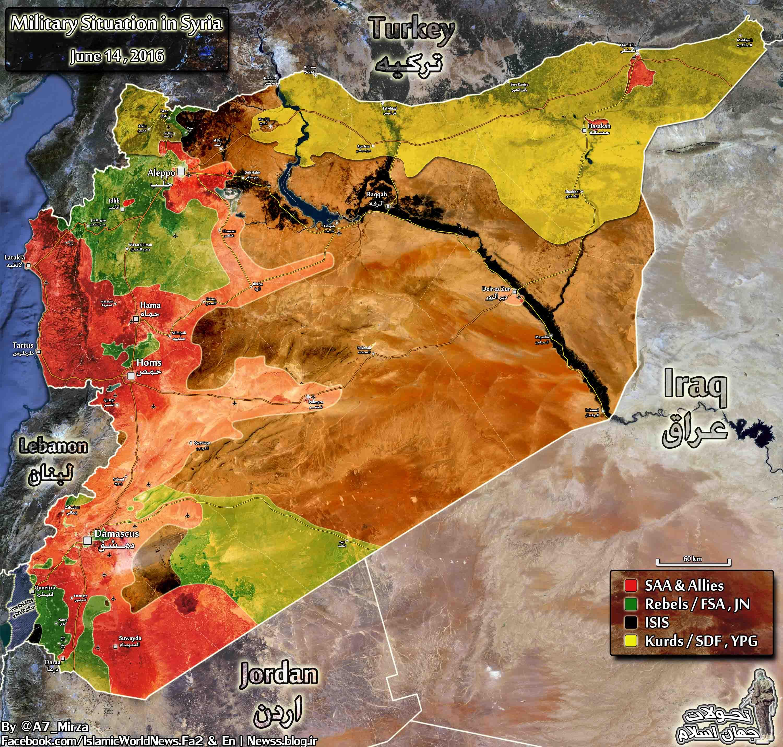 Syria map wide 14june 25khordad low نقشه آخرین وضعیت خطوط تماس در سوریه / نقشه کامل / تا تاریخ 25 خرداد 95