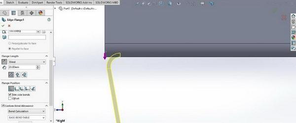دستور مورد استفاده برای ساختن لبه ورق در سالید ورک