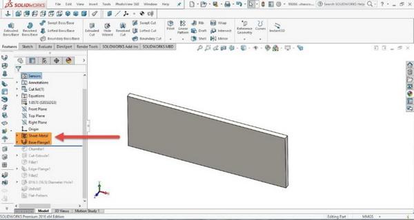 ویژگی های Solidworks sheet metal در درخت طراحی