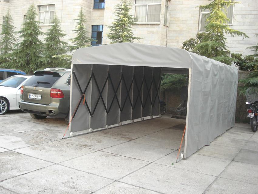 پارکینگ خودرو :: سقف وسایبان متحرک/چترهای متحرکپارکینگ های متحرک با اشغال کمترین فضای ممکن این امر را محقق می سازد.