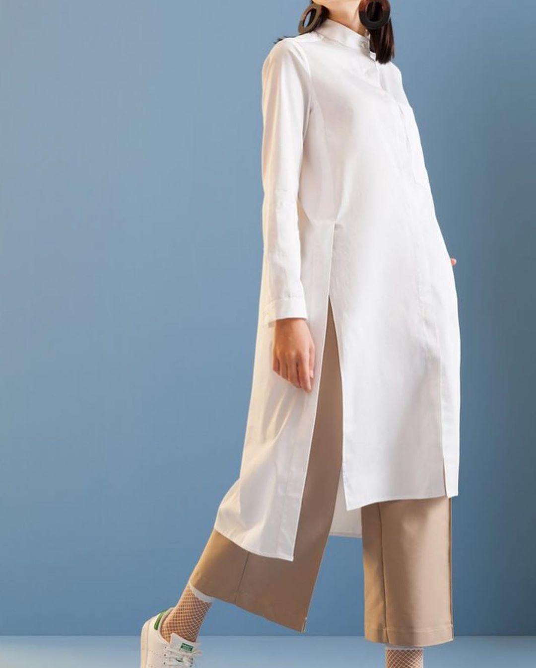 مدل مانتو تابستانی دخترانه ساده و بلند بسیار شیک با پارچه نخی و خنک