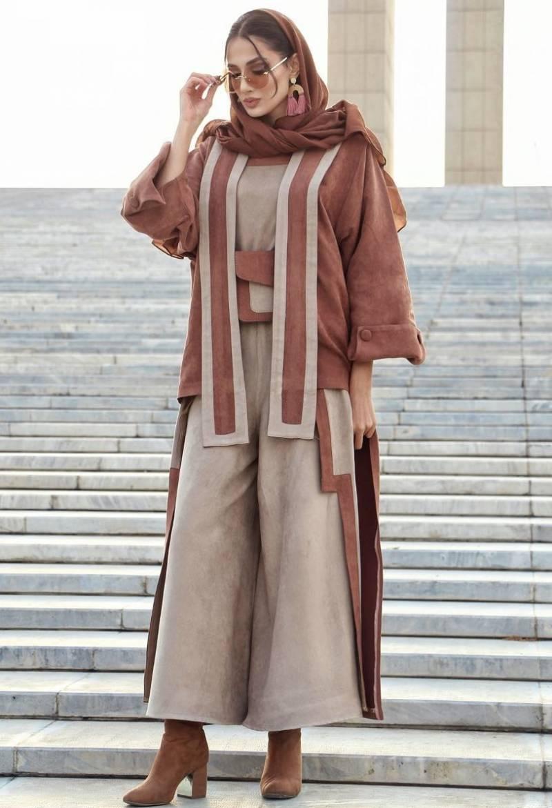 مدل مانتو پاییزی جدید دخترانه مخمل با شلوار گشاد