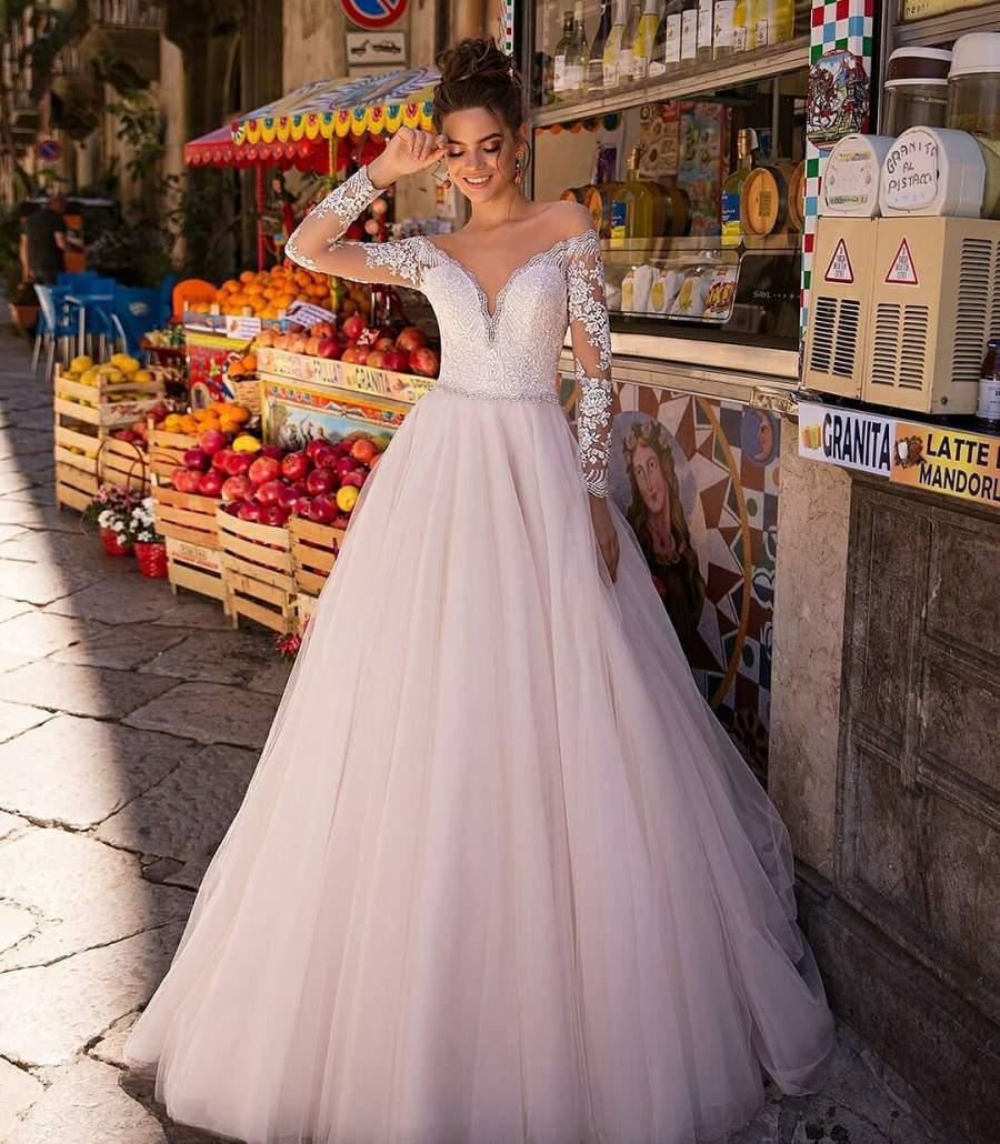 لباس عروس آستین گیپور 2019
