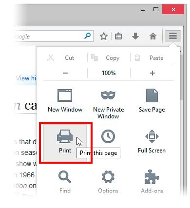 پرینت از صفحات وب