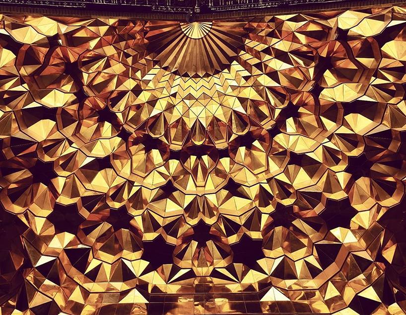 ceiling of hazrat-masoumeh mosque in qom, iran
