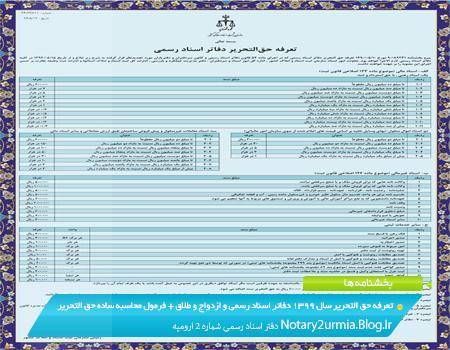 تعرفه جدید حق التحریر دفاتر اسناد رسمی و ازدواج و طلاق