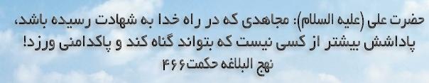 حضرت علی(ع):مجاهدی که در راه خدا به شهادت رسیده باشد، پاداشش بیشتر از کسی نیست که بتواند گناه کند و پاکدامنی ورزد.