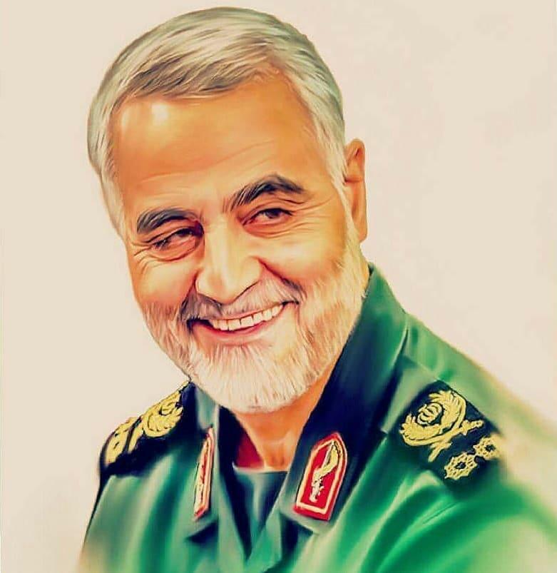 عکس نقاشی شده سردار قاسم سلیمانی در حال خندیدن