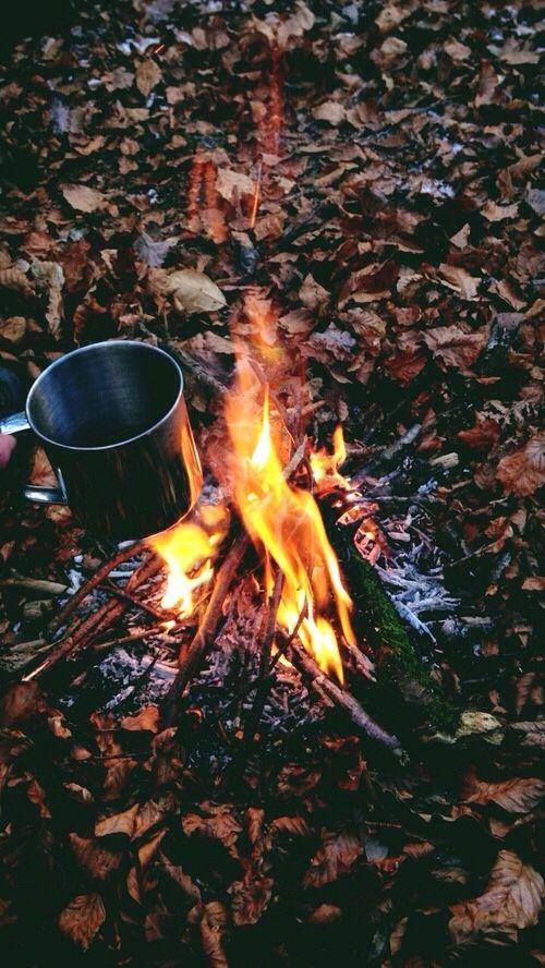 عکس فنجان چای و آتش در پاییز برای پروفایل