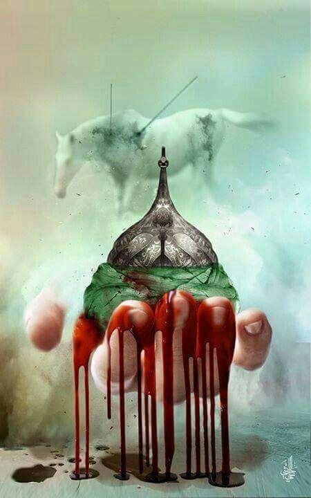 عکس والپیپر محرم برای روز عاشورا که صحنه تیر خوردن اسب امام حسین را نشان می دهد