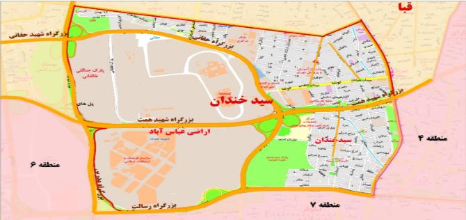 نقشه سیدخندان تهران