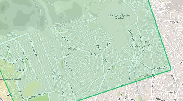 نقشه زعفرانیه تهران