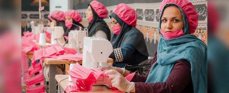 گزارش تصویری از کارگاه تولید ماسک بهداشتی در بوشهر