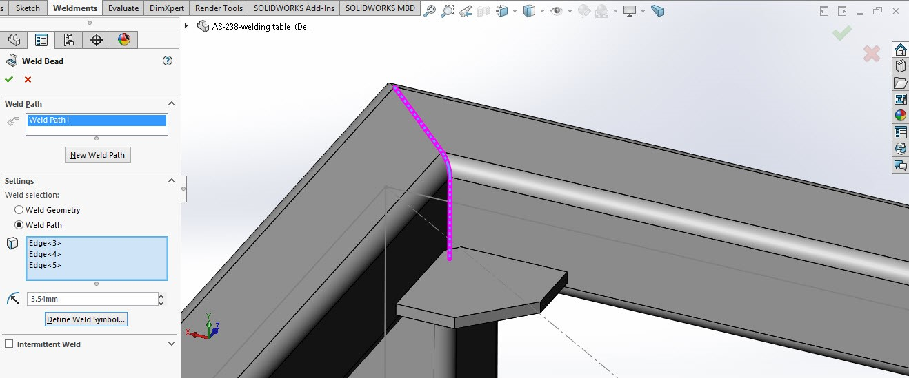 ُSolidworks weldment 8