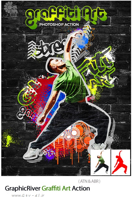 دانلود اکشن فتوشاپ GraphicRiver Graffiti Art Photoshop Action