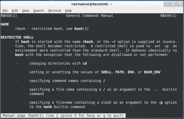 رابط کاربری خط فرمان سفارشی محدود شده rbash