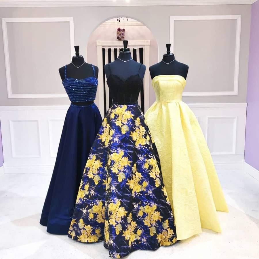 مدل لباس ساقدوش عروس آبی زرد